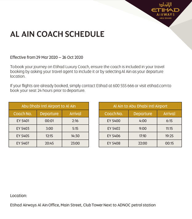 Etihad Coach Schedule to and from Al Ain