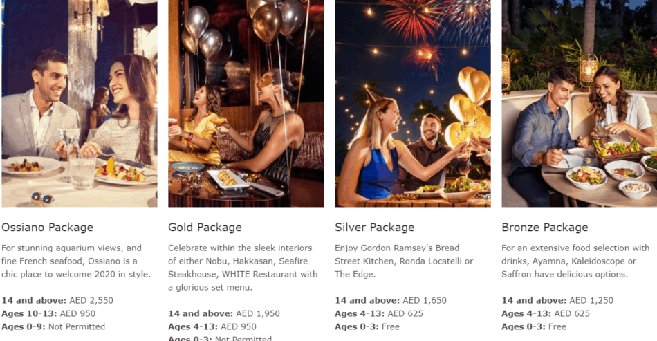 Atlantis The Palm New Years Eve Gala Packages