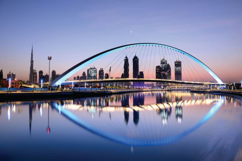 Dubai Water Canal & Skyline at Night | The Vacation Builder