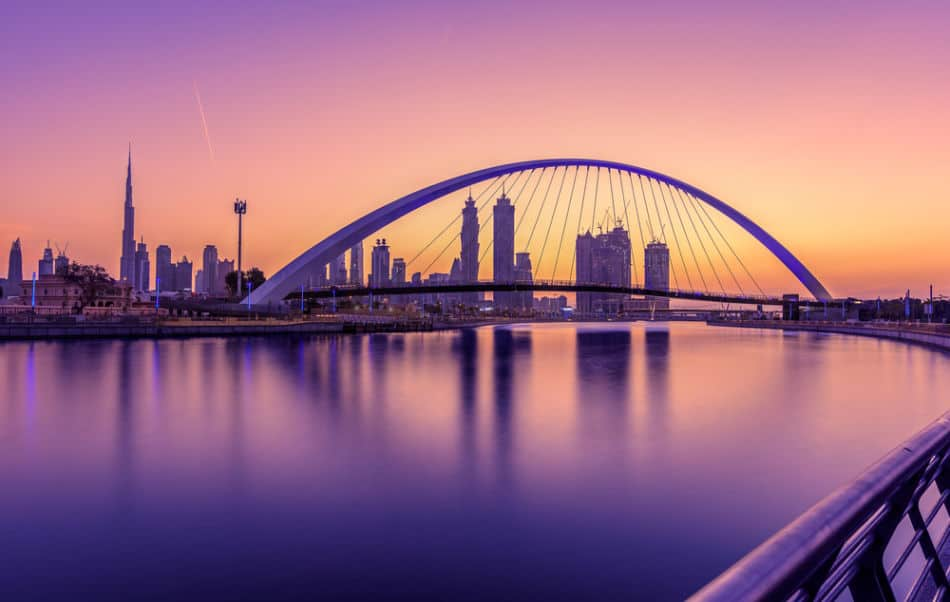 Sunrise skyline at Dubai Water Canal | The Vacation Builder