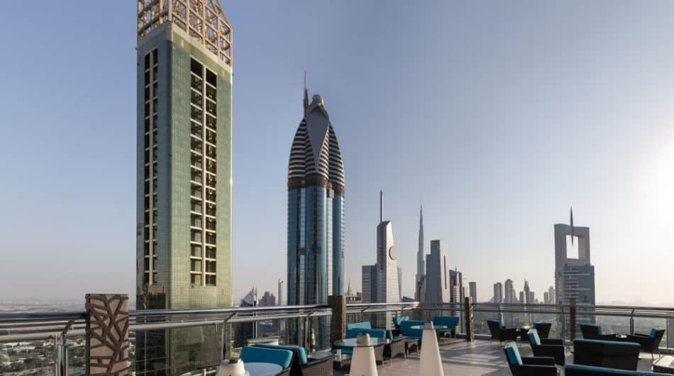 Skyline of Dubai from a Rooftop Bar | The Vacation Builder