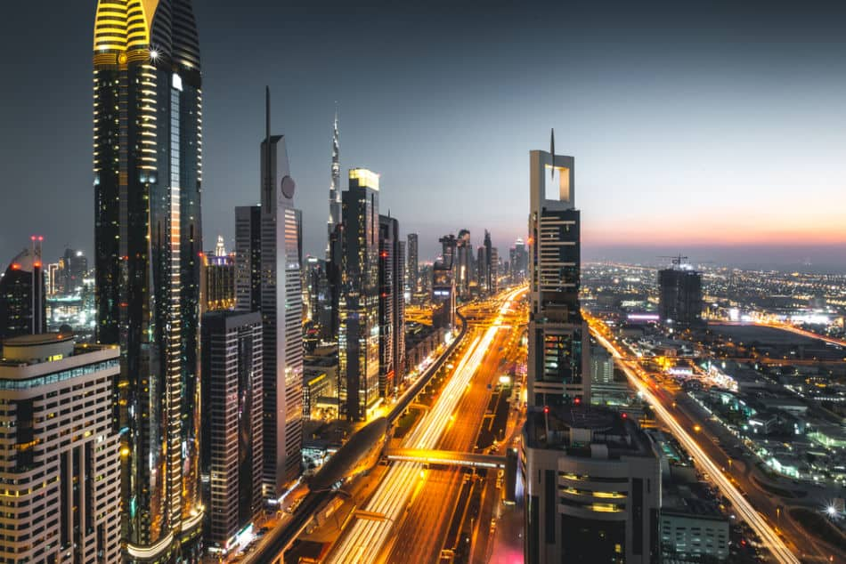 Sheikh Zayed Road Skyline and Traffic at Sunset | The Vacation Builder