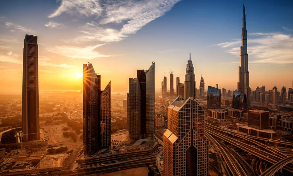Skyline of Dubai in Downtown at Sunrise | The Vacation Builder