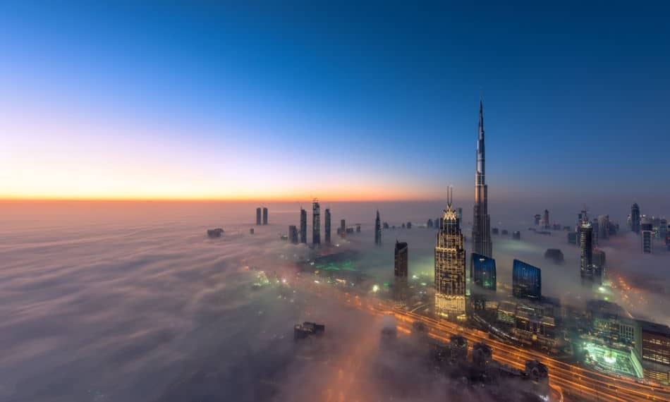 Evening Skyline of Dubai Above The Clouds | The Vacation Builder